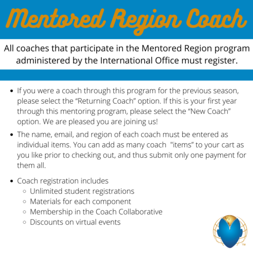 Mentored Regions ONLY – Annual Coach Fee